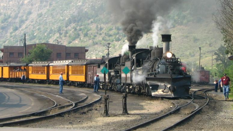 Train Leaves the Station in Durango